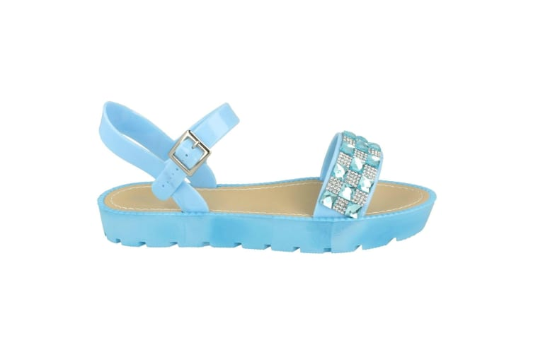 Savannah Womens/Ladies Diamante And Jewel Trim Mule Sandals (Light Blue) (4 UK)