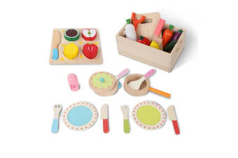 Keezi Kids Pretend Play Food Kitchen Wooden Toys Childrens Cooking Utensils Food