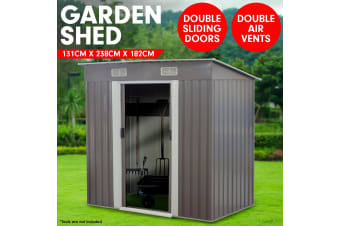 4ft x 8ft Garden Shed Flat Roof Outdoor Storage - Grey