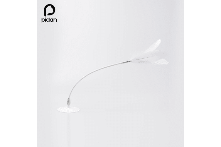 Pidan Kitten Cat Pet Chaser Wand Teaser Feather Interactive Play Fun Toy Suction Cup White