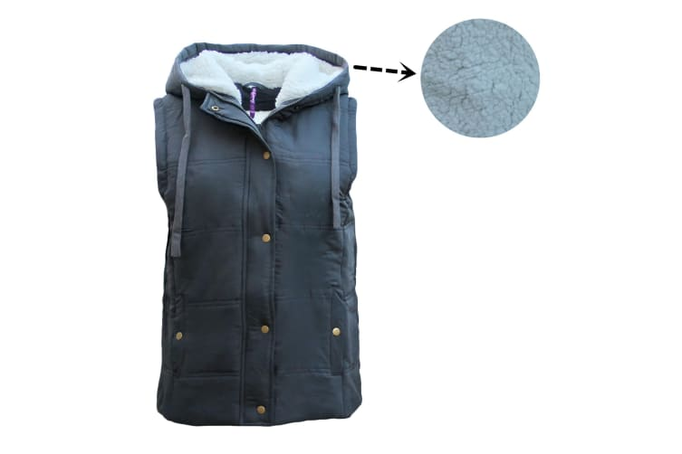 Women's Hooded Sherpa Fur Puffy Puffer Sleeveless Jacket Vest Waistcoat Quilted - Charcoal