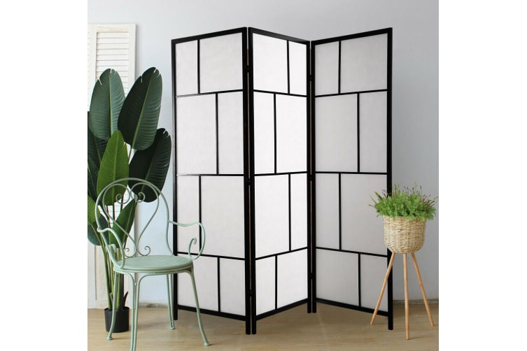 Levede 3 Panel Room Divider Screen Door Stand Privacy Fringe Wood Timber Fold