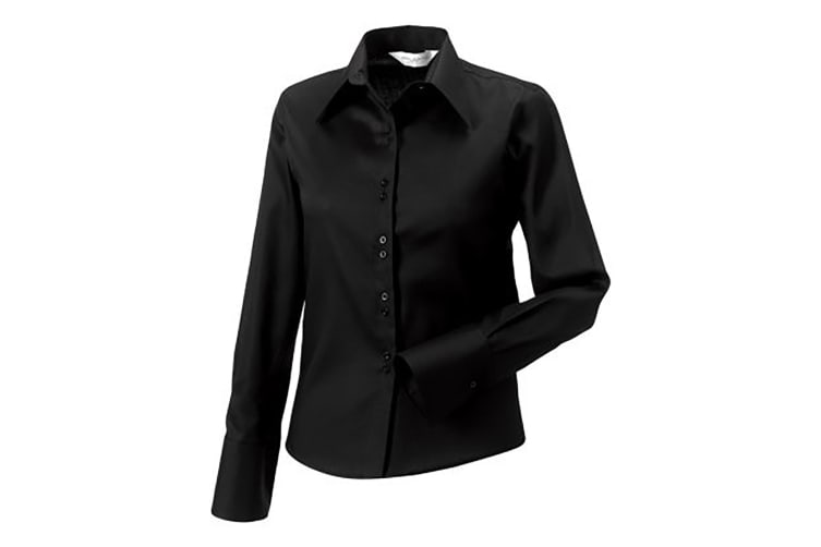 Russell Collection Ladies/Womens Long Sleeve Ultimate Non-Iron Shirt (Black) (S)