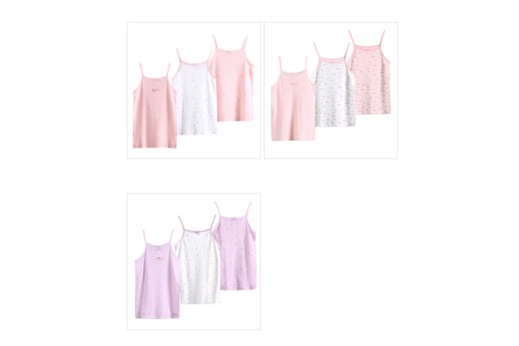 3Pcs Baby Toddler Girls' Halter Mesh Tops Tanks - Pink Pink 100Cm