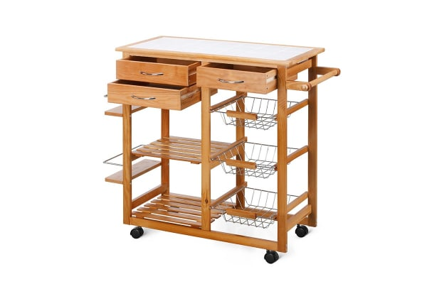 Ovela Ceramic Top Kitchen Storage Trolley & Workbench