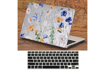 "Marble Frosted Matte Hard Case with Free Keyboard Cover for MacBook Pro 13"" 2016-2018 A1706 A1989 (With Touch Bar)-Flower Pattern"