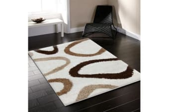 Modern Shag Runner Rug Hoops Ivory Beige Brown