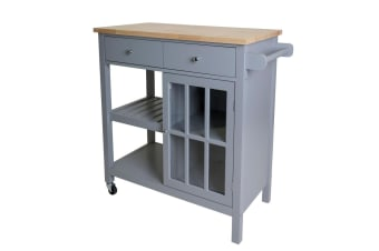New New Wooden Kitchen Utility Trolley Cart 2 Shelves Cabinet Rack Grey