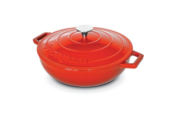 Westinghouse 30cm Shallow Cast Iron Pot - Red
