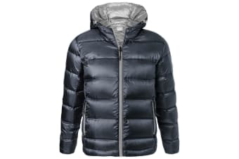 James and Nicholson Mens Hooded Down Jacket (Navy/Silver) (3XL)