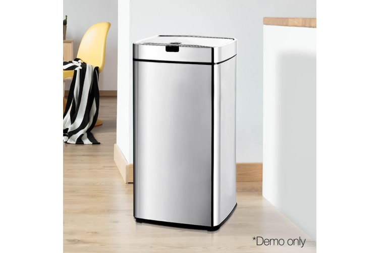 45L Motion Sensor Bin Rubbish Automatic Stainless Steel Trash Can Kitchen Office