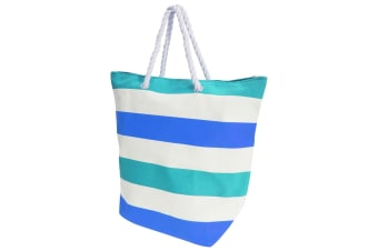 FLOSO Womens/Ladies Stripe Patterned Canvas Summer Handbag (White/Blue)