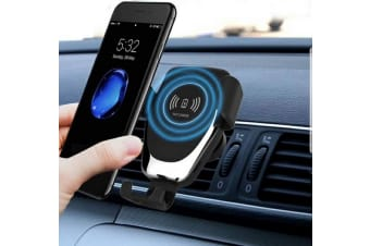 10W QI Wireless Fast Charger Car Mount Holder Stand - Black