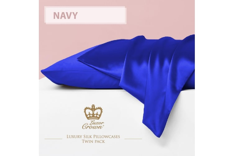 Two Mulberry Silk Fronted Pillowcases NAVY