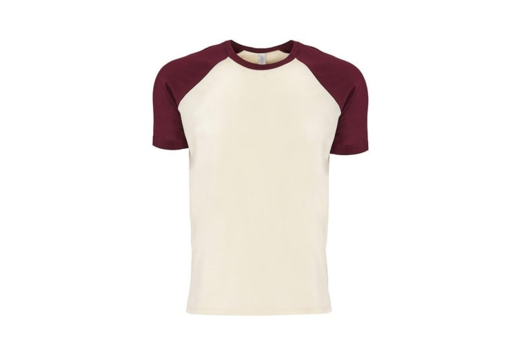 Next Level Adults Unisex Contrast Cotton Raglan T-Shirt (Maroon/Natural) (M)