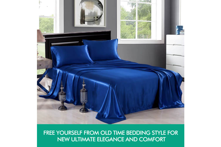 DreamZ Ultra Soft Silky Satin Bed Sheet Set in King Size in White Colour