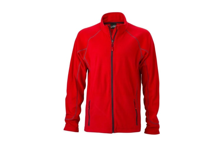James and Nicholson Mens Structure Fleece Jacket (Red/Carbon) (M)