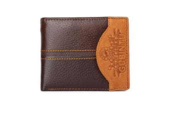 Mens Genuine Leather Patchwork Trifold Wallet Car