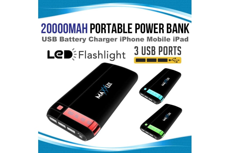 Maxxlee 20000mAh Power Bank Portable USB External Battery Charger iPhone Mobile iPad BLUE
