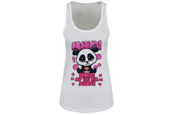 Handa Panda Ladies/Womens Believe & You Will Achieve Floaty Tank (White)