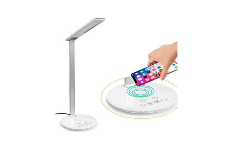 Orotec 5W LED Desk Table 4 Colour Dimmable Touch Lamp/Light Qi Wireless Charger