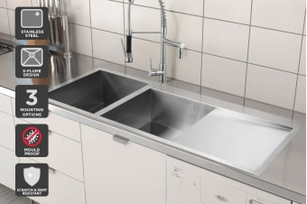 Kromo Vironia 450X Double Bowl Kitchen Sink (Drop-in/Flush/Undermount)