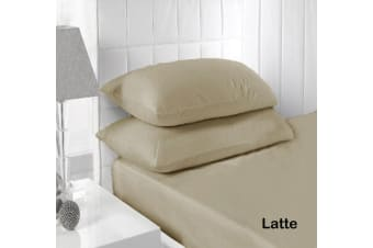 250TC Fitted Sheet Set Latte - King