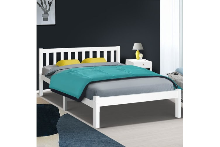 Double Full Size Wooden Bed Frame Pine Timber Mattress Base Bedroom