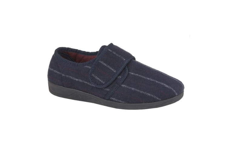 Sleepers Mens Carl Touch Fasten Slipper (Navy Velour) (12 UK)