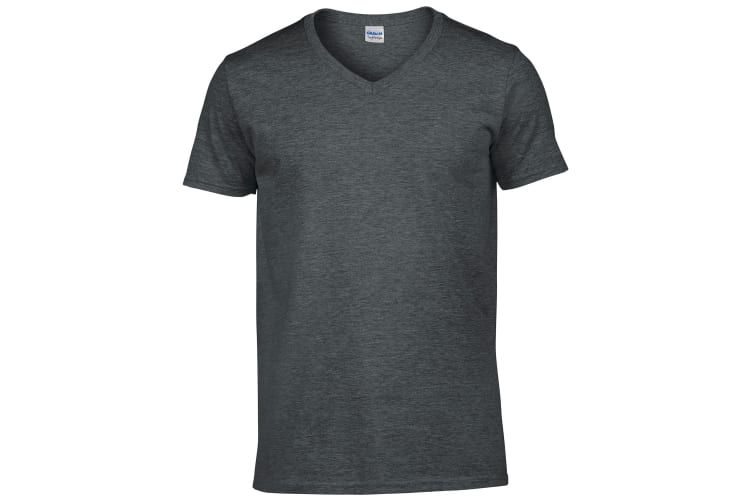 Gildan Mens Soft Style V-Neck Short Sleeve T-Shirt (Dark Heather) (XL)