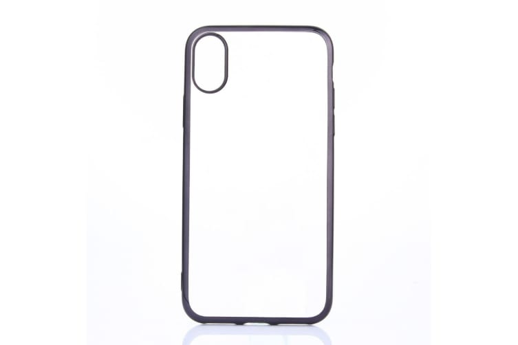 For iPhone XS X Case Transparent Electroplating Durable Protective Cover  Black
