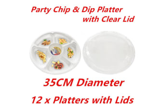 12 x PLASTIC 5 SECTION CHIP DIP SERVING PLATTERS W LIDS CATERING TRAY PARTY 35CM