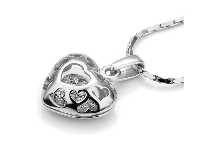 3D Heart Cage Pendant Necklace White Gold Embellished with Swarovski crystals