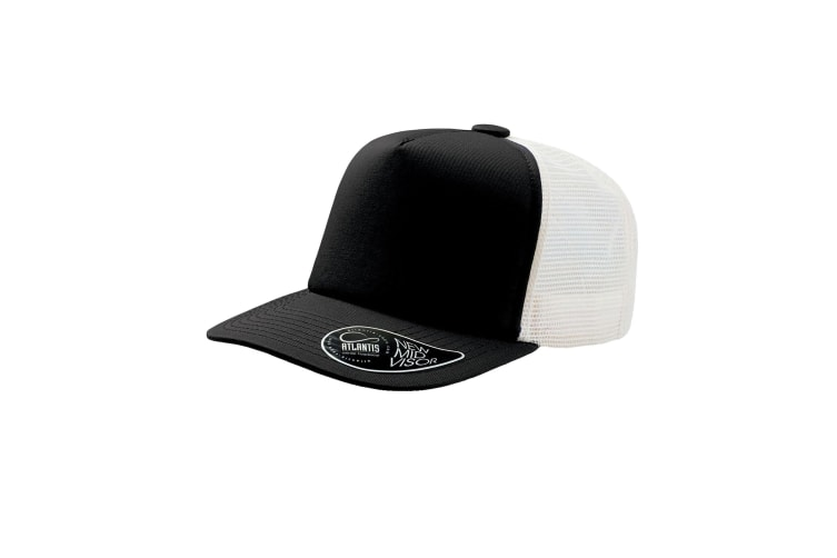 Atlantis Record Mid Visor 5 Panel Trucker Cap (Black) (One Size)