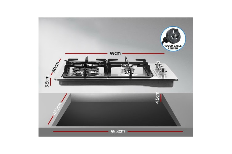 Gas Cooktop 60cm Kitchen Stove 4 Burner Cook Top NG LPG Stainless Steel
