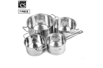 Herten 7pcs Stainless Steel Cookware Set Pot Saucepan Casserole w/ Glass Lid