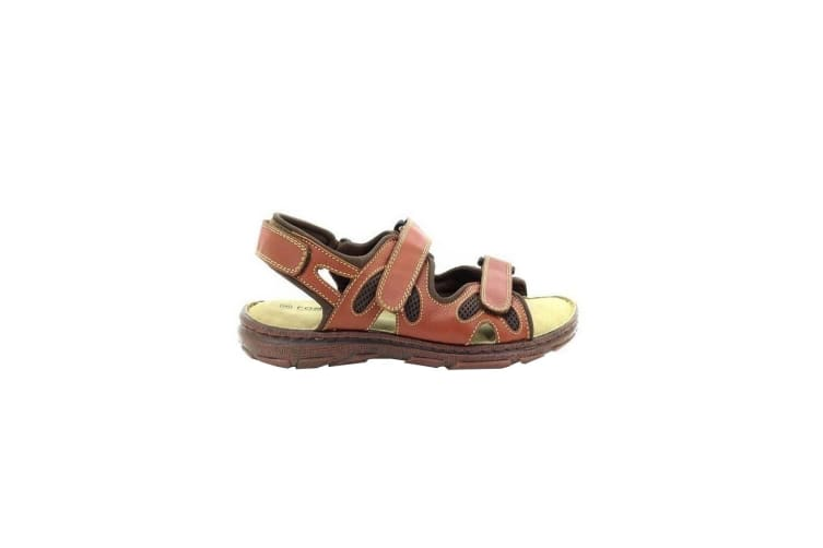 Roamers Mens 3 Touch Fastening Adjustable Comfort Leather Sandals (Brown) (11 UK)