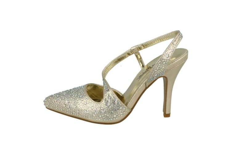 Anne Michelle Womens/Ladies Diamante Y Strap Slingback Heels (Gold Synthetic) (5 UK)
