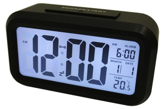 Light Sensor Alarm Clock W/ Backlit Display Portable Battery Operated Black