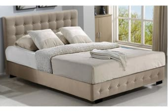 Gas Lift Storage Queen Size Fabric Bed Frame - Beige