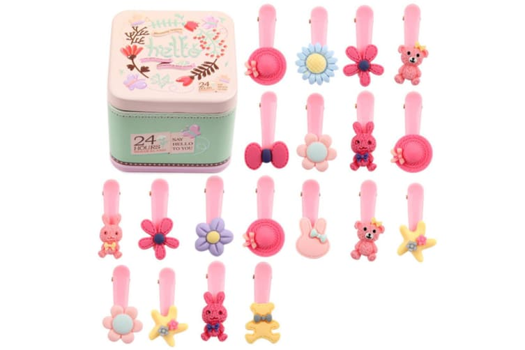 30Pcs Children'S Hair Jewelry Rope Combination Suit Leather Band Cartoon Hairpin - 8 Pink