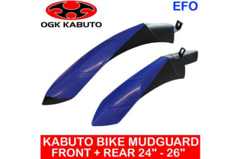 "Ogk Kabuto 24 - 26"" Front + Rear Bike Mudguard Fender Mountain Road Cycling Blue"