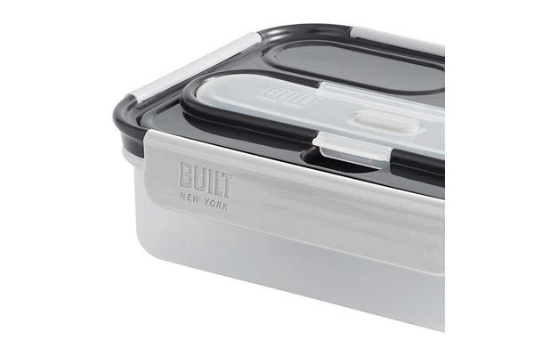 BUILT NY Gourmet 3 Compartment Bento Lunch Box w/ Stainless Steel Utensils 5pc Set