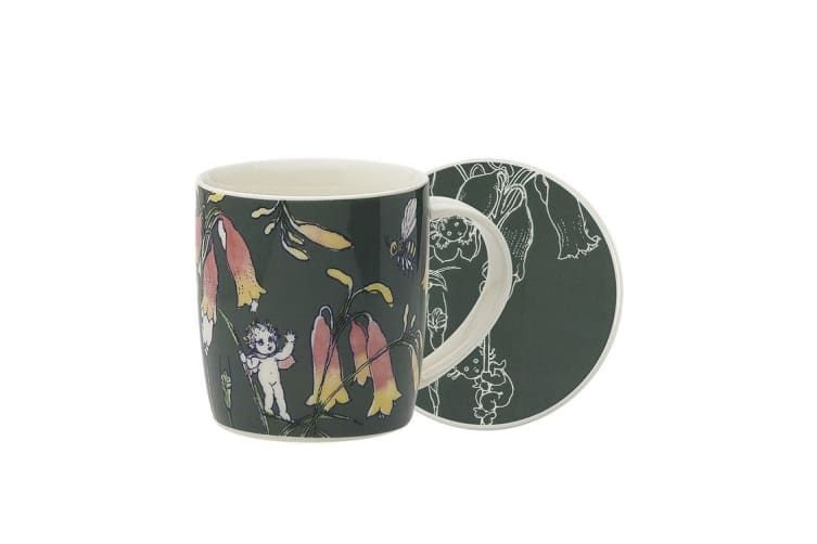 Ecology May Gibbs Mug & Coaster 320ml Flower Babies - Dark Green