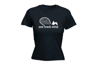 123T Funny Tee - One Track Tractor - (Small Black Womens T Shirt)