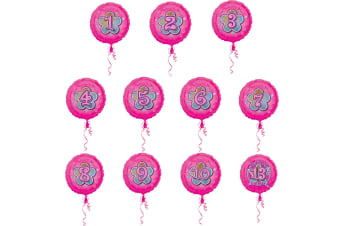 Amscan 18 Inch Floral Glitter Design Circular Foil Birthday Age Balloon (Pink) (5)