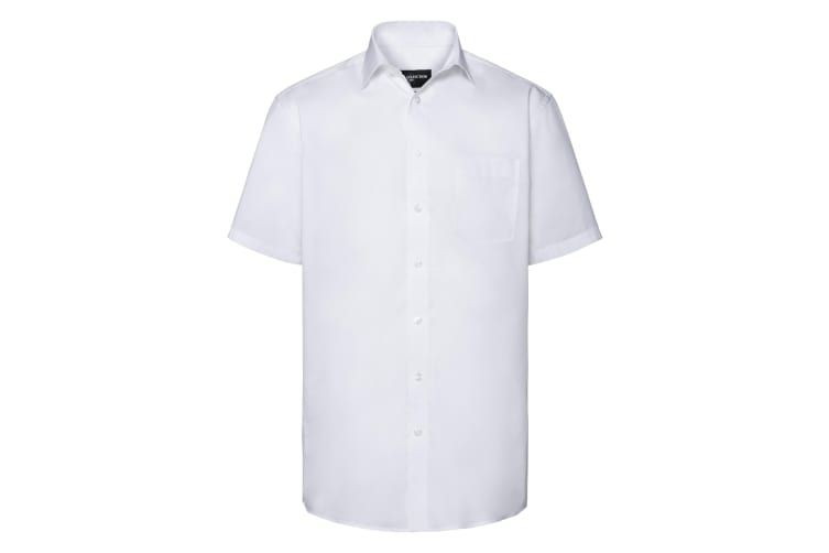 Russell Collection Mens Short Sleeve Tailored Coolmax Shirt (White) (XL)