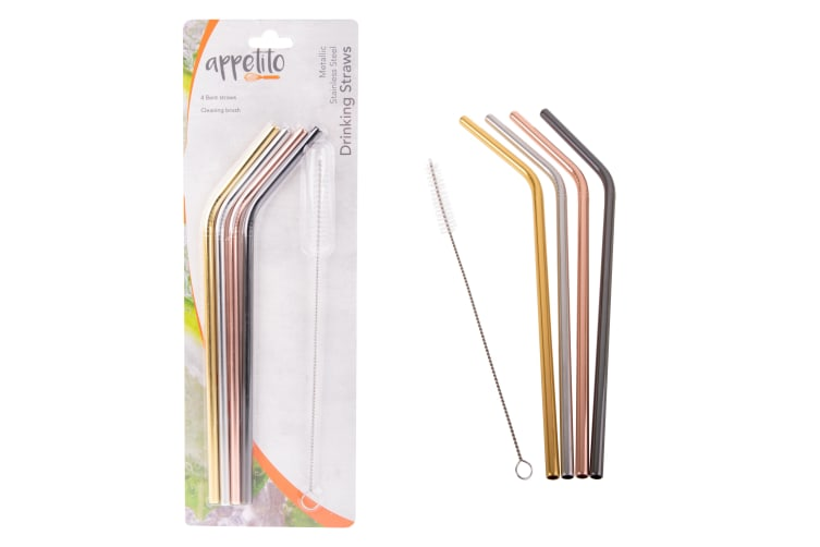 Appetito Set 4 Bent Metallic Stainless Steel Straws + Cleaning Brush