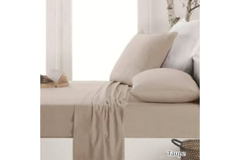 Easy-care Micro Flannel Sheet Set Taupe Queen
