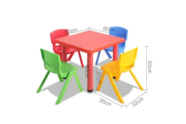 Kids 5 Piece Table and Chairs Playset (Red)